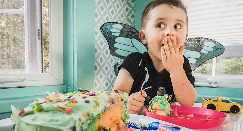 3 Year Old Boy Eats Birthday Cake